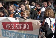 Protestation économique à Madrid, Espagne Images libres de droits
