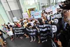 Protestation anti-gouvernement «de masque blanc» à Bangkok photo stock