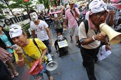 Protestation anti-gouvernement «de masque blanc» à Bangkok Image libre de droits