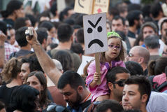 Protestation contre des coupures de gouvernement, Porto Photo libre de droits