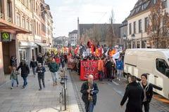 Protestation contre des réformes de travail dans les Frances Image libre de droits