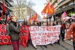 Protestation contre des réformes de travail dans les Frances Images stock