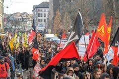 Protestation contre des réformes de travail dans les Frances Photos libres de droits