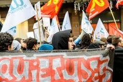 Protestation contre des réformes de travail dans les Frances Photographie stock