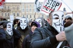 Protestation contre l'ACTA et le gouvernement Photos libres de droits