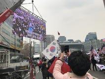 Protestation contre la mise en accusation du ` s de parc - SÉOUL Photographie stock