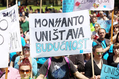 Protestation contre Monsanto, Zagreb, Croatie Images stock