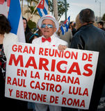 Protestation cubaine de disidents de Miami photo stock