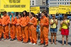 Protestation d'activistes d'Amnesty International chez Potsdamer Platz Images libres de droits