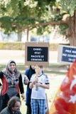 Protestation d'activistes de droits de l'homme d'Uyghur Image stock