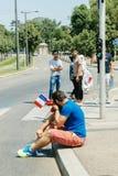 Protestation d'activistes de droits de l'homme d'Uyghur Photographie stock libre de droits