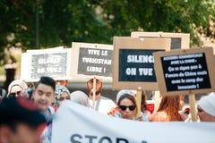 Protestation d'activistes de droits de l'homme d'Uyghur Photos libres de droits