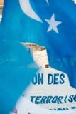 Protestation d'activistes de droits de l'homme d'Uyghur Images stock