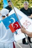 Protestation d'activistes de droits de l'homme d'Uyghur Photos stock