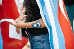Protestation d'activistes de droits de l'homme d'Uyghur Photo libre de droits