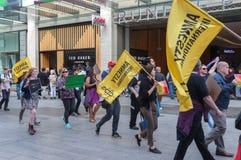 Protestation d'Amnesty International Chechenie Images stock