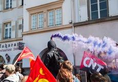 Protestation d'avril contre des réformes de travail dans les Frances Photo libre de droits
