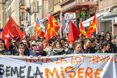 Protestation d'avril contre des réformes de travail dans les Frances Image stock