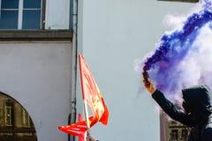 Protestation d'avril contre des réformes de travail dans les Frances Photo stock