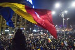 Protestation de Bucarest contre le gouvernement Images stock