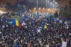 Protestation de Bucarest contre le gouvernement Image stock