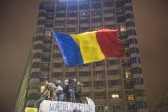 Protestation de Bucarest contre le gouvernement Photo stock