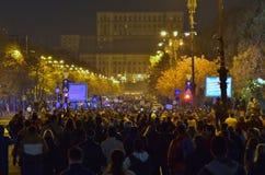Protestation de Bucarest, modifiant les lois de la justice image libre de droits