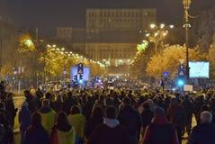 Protestation de Bucarest, modifiant les lois de la justice photo libre de droits