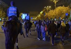 Protestation de Bucarest, modifiant les lois de la justice photographie stock libre de droits