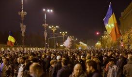 Protestation de Bucarest, modifiant les lois de la justice photos libres de droits