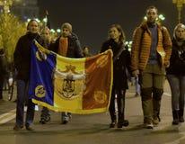 Protestation de Bucarest, modifiant les lois de la justice images libres de droits