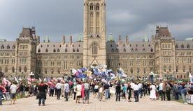 Protestation de CAW sur la côte du Parlement Photographie stock