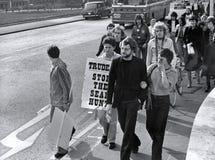 Protestation de chasse aux phoques, Londres Images stock