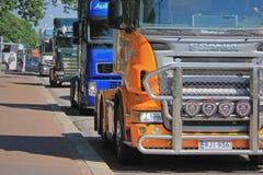 Protestation de convoi de camions à Helsinki, Finlande photos libres de droits