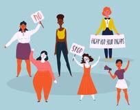 Protestation de femmes avec l'arrêt et aucun signes Demostrants illustration libre de droits