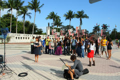 Protestation de guerre à Miami, la Floride Photo stock