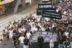 Protestation de Hong Kong au-dessus des morts d'otage de Manille Photo stock