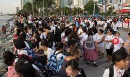 Protestation de montre de coucher du soleil pour la baie de Manille, Manille Images stock