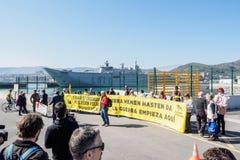 Protestation de navire de guerre images stock