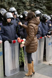 Protestation de ?ntiauthority à Kharkiv, Ukraine Photographie stock