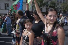 Protestation de Paris contre des expulsions de Roma Photographie stock