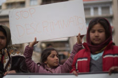 Protestation de réfugié à Athènes Images stock