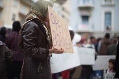 Protestation de réfugié à Athènes Images libres de droits
