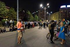 Protestation de Roumains devant le gouvernement Image libre de droits