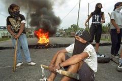 Protestation des étudiants argentins au barrage de route photo stock