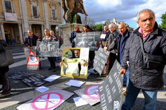 Protestation des peintres de rue à Rome Photographie stock libre de droits