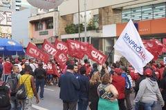 Protestation des travailleurs à Sao Paulo photo libre de droits
