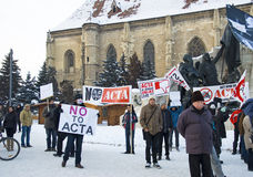 Protestation en Roumanie contre l'ACTA Photos libres de droits