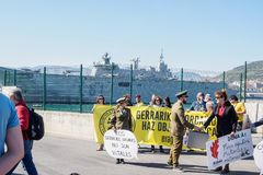 Protestation espagnole de Juan Carlos I de bateau à Bilbao photographie stock libre de droits