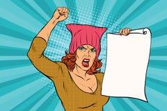 Protestation féministe de femme au rassemblement illustration stock